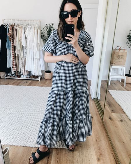 Mango gingham dress.   Dress- Mango xs  Sunglasses- Quay Sandals- Birkenstocks 4/4.5 narrow    http://liketk.it/3hKLg @liketoknow.it #liketkit #LTKunder100 #LTKshoecrush