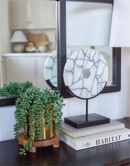 Table decor, mirror, plant