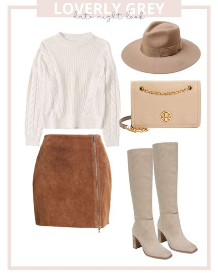 Loverly Grey fall date night look: pair a chunky sweater with a suede skirt and knee high boots!   #LTKSeasonal #LTKstyletip #LTKunder100