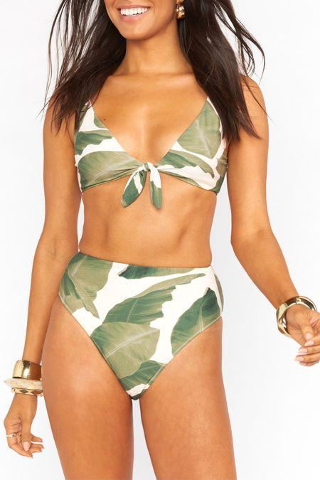Show Me Your Mumu Palma Bikini in Queen Palms. Spring break palm tree leaf design swimsuit   #LTKcurves #LTKswim #LTKstyletip