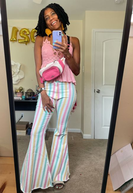 Summer Style: Lace ruffle peplum shirt + Color block striped flare pants + Coach Fanny pack + Chanel necklace   #LTKstyletip #LTKunder100
