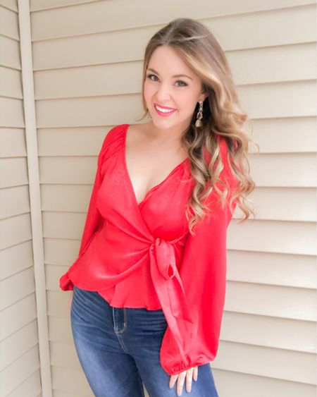Red holiday top ❤️🎁 http://liketk.it/33VEX #liketkit @liketoknow.it #LTKunder50 #LTKsalealert #LTKgiftspo  holiday top, party top, red blouse, red top