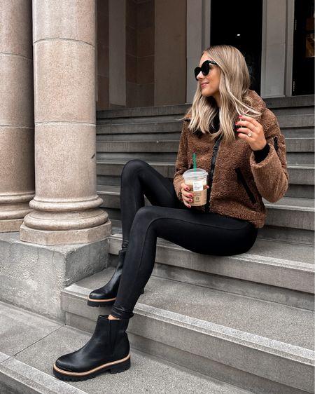 Cozy sherpa jacket, spanx faux leather leggings, black lug sole boots from Bloomingdales   #LTKunder100 #LTKstyletip #LTKshoecrush