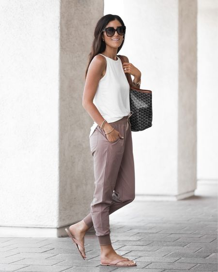Amazon style, comfy casual, joggers, white tanks tote bag, sunglasses, StylinByAylin   #LTKunder100 #LTKunder50 #LTKstyletip