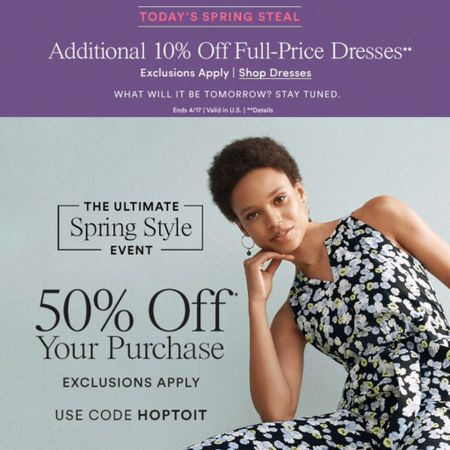 Work wear sale alert - Get 50% off your purchase at Ann Taylor using the code HOPTOIT. Stack with code THANKS7 for an extra $50 off your full-price promotional purchase of $100+ since the shopping cart allows two codes at checkout! Also get an extra 10% off dresses today for today's daily deal. @liketoknow.it http://liketk.it/2BdnY #liketkit #thisisann #LTKsalealert #LTKspring #LTKunder50 #LTKunder100 #LTKworkwear