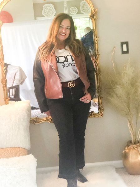 The two tone moto jacket styled with graphic tee and my favblack cropped denim to show off my cowboy boots! I am ready for Nashville and a concert! It is #FashionFriday join my fashionable friends and check out their looks…  @seechele_styles @classicstylebylisa_ @mymidlifestylist @patrishpages @fashionablyfifty  @overfiftyandblessed @joyousstyling @jaxvegancouple @robinlamonte  Have you booked any concerts? Please share   #LTKstyletip #LTKSeasonal #LTKunder100