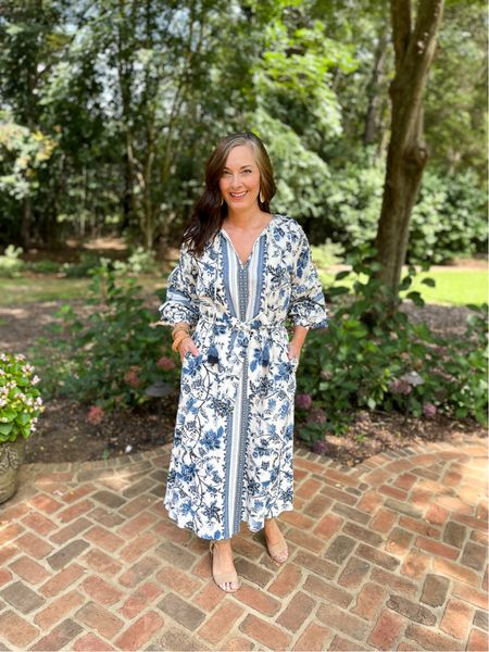 Perfect blue and white floral boho dress for late summer and early fall! True to size in a small.   #LTKSeasonal #LTKsalealert #LTKstyletip