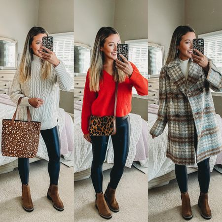 Love these looks for fall from the N sale! Can't go wrong with these versatile faux leather leggings! And these brown studded boots are so comfy and my must have for fall this year! Pairing cozy sweaters and a plaid coat with some leopard bags! Such great finds at the sale!!   #LTKunder50 #LTKsalealert #LTKitbag