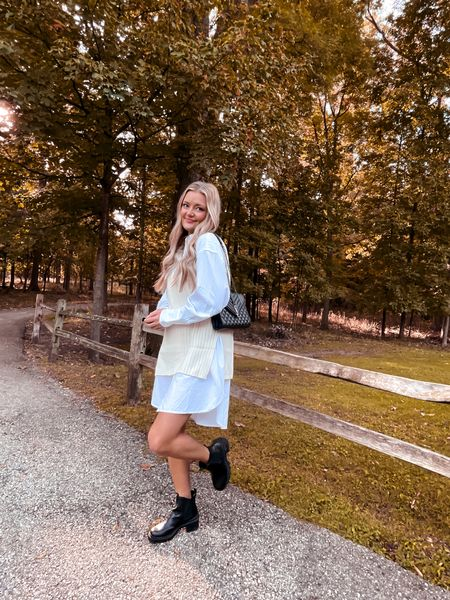 Loving this trendy look! I love the overhauled white shirt with the cream oversized sweater! Whole look is affordable and from H&M! Wearing a size small!   #LTKunder50 #LTKHoliday #LTKstyletip