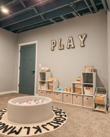 """""""If only we remembered to have fun, the whole world would become our playground"""" — Bernard De Koven. All basement #playroom details are linked on @liketoknow.it and you can find them on my blog 🧸   Download the LIKEtoKNOW.it app to shop this pic via screenshot! http://liketk.it/3hOWC #liketkit #LTKhome #LTKfamily #ballpit #amazonfinds #targethome #woodentoys #playroomstorage #mommyblogger #playroomorganization  - - - - - - #playroomideas #playroomgoals #LTKbaby #basementceiling #playroominspo #playroomdecor #playquotes #momblogger #toddlerplayroom #toyorganization #toddlerroom #kidsroomdecor #alphabetrug #playroomdesign #modernfarmhouse #playtime #farmhousedecor #playspace #hellotravelblog"""