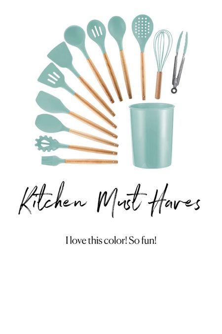 Amazon kitchen must haves. Blue rubber utensil set  #LTKunder50 #LTKhome