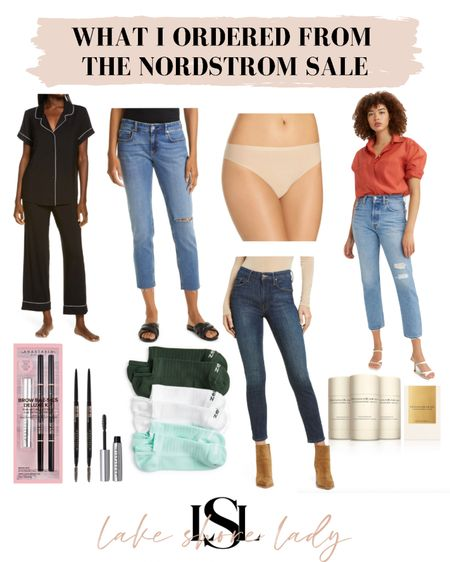 What I ordered from the Nordstrom sale! Petite friendly jeans to try, my favorite pjs in cropped pants, nude undies, socks, a brow kit, and deodorant! @liketoknow.it http://liketk.it/3jMSQ #liketkit #LTKunder100 #LTKsalealert #nsale