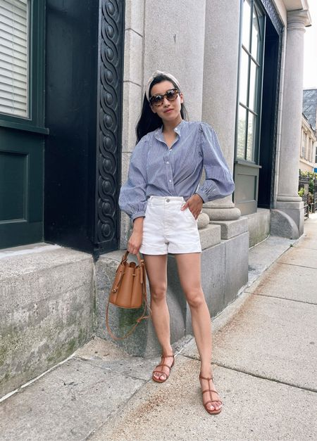 Weekend casual in jcrew puff sleeve blouse (i like to do a wrap tuck in the front!) 00, Everlane shorts 00 (petite friendly) , jcrew sandals 5.5, polene Paris bag # 8 mini , express headband   #LTKstyletip #LTKSale #LTKunder50