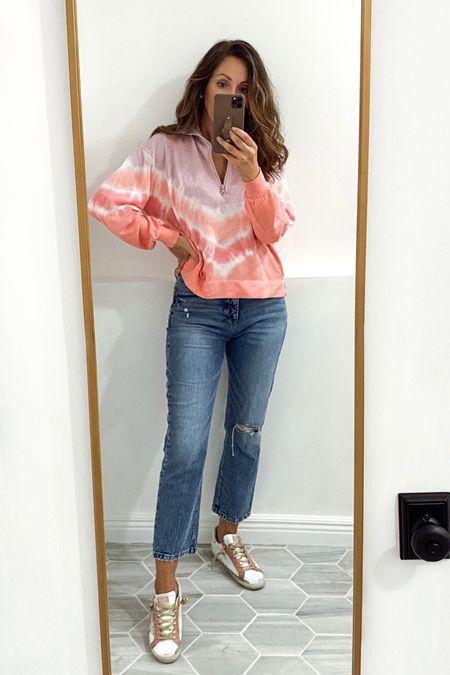 Wearing xs in this lightweight half zip sweatshirt (boxy style).  Jeans old from LOFT, linked great options.   #LTKsalealert #LTKshoecrush #LTKstyletip