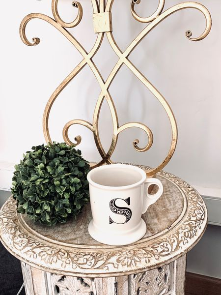 http://liketk.it/3fXPS #liketkit @liketoknow.it @liketoknow.it.home #LTKhome #LTKfamily  Letter coffee mug  Gold brushed scroll table lamp  White lamp shade square  Distressed round side table  Faux greenery ball