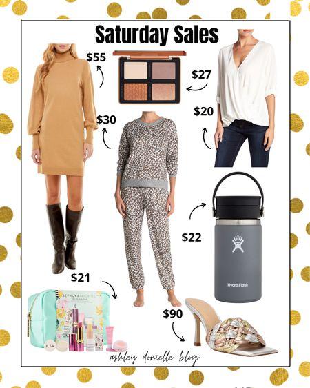 Saturday sales you don't want to miss - hydro flask, heels, sweater dress, pajamas!   #LTKstyletip #LTKsalealert #LTKSeasonal