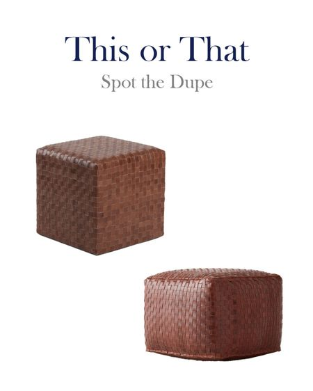 Woven Leather Ottomans, This or That, High and Low, Splurge and Save