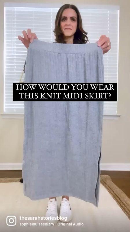 Knit midi skirt styled two ways! Casual or dressy! Fits tts.   #LTKunder50 #LTKstyletip