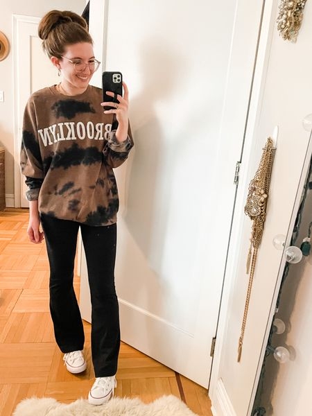 """Brown and black tie dye sweatshirt - super soft and lightweight. Wearing a size small for a more oversized, slouchy  fit.  Yoga pants- TTS wearing the regular length (I'm 5'3"""" with short legs)   #LTKSale #LTKsalealert #LTKfit"""