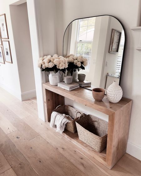 Console table, console table styling, black mirror, neutral home decor, entryway, vases, StylinAylinHome   #LTKstyletip #LTKunder100 #LTKhome