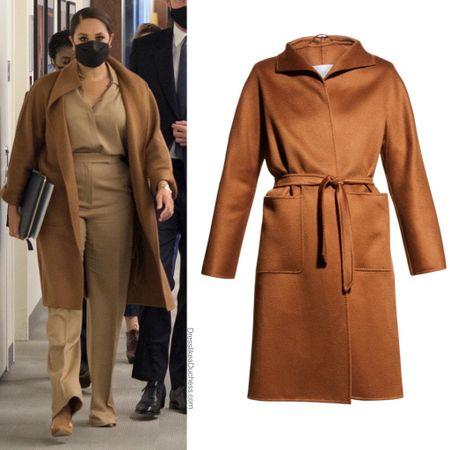 Meghan wearing Max Mara Lilia coat #wrap #camel #overcoat #city #business   #LTKworkwear