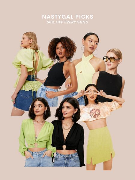 Nasty Gal style picks, neutral style, green, bodysuit, crop top, wrap top, open back, beach vacation style, summer outfit, outfit inspo, spring fashion, TikTok, trendy outfit, black shirt, date night, party top   #LTKstyletip #LTKSeasonal #LTKunder50