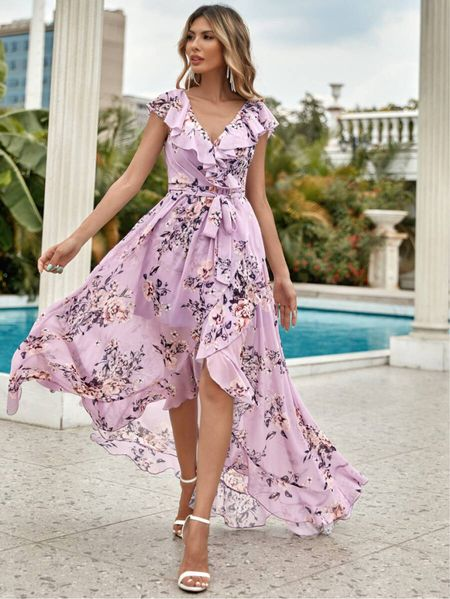On sale! Floral Print Belted Wrap Dress from Shein $38 #LTKsalealert Chiffon lined wrap cap butterfly sleeve dress. Comes in purple, white or mint blue. #liketkit @shop.LTK @liketoknow.it #LTKit #liketoknowit #LTKitbag #LTKshoecrush #LTKbeauty #LTKcurves #LTKfit #LTKtravel #LTKswim #LTKworkwear #LTKwedding #LTKunder50 #LTKunder100 #LTKstyletip #shein #sheinX