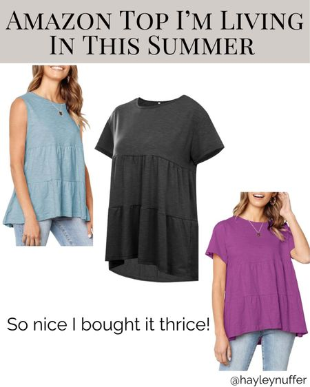 This top is so nice I bought it thrice! It comes in so many colors and is on sale today! Comes in both tank and t-shirt versions.   Fits perfectly over my growing bump and is cute on. It would be awesome without a bump too!  Linked up on my LiketoKnow.it page!   http://liketk.it/3fIPg #liketkit @liketoknow.it #LTKbump #LTKsalealert #LTKunder50
