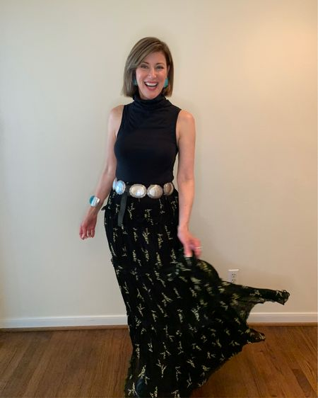 Happy Wednesday!!! I'm ready for summer parties as quarantine permits. Love this tiered long skirt from @bashparis !! It's super versatile and could take you through every season. I added boots, a concho belt and turquoise for some Texas flair that I think is always in style!!! By the way it's 30 % off !! XO Shop my daily looks by following me on the LIKEtoKNOW.it shopping app  http://liketk.it/2ON53 #liketkit @liketoknow.it #LTKsalealert #LTKstyletip #LTKspring #bashparis #longskirts #tieredskirt #margaritaskirt