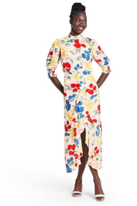 Floral Mock Neck Cascade Ruffle Dress - RIXO for Target On sale for $18 Available in sizes 2, 4 & 10 Target style Summer outfits Vacation outfits Wedding guest dresses Summer dresses Midi dress Floral dress   http://liketk.it/3iD29 #liketkit @liketoknow.it #LTKsalealert #LTKunder50 #LTKstyletip