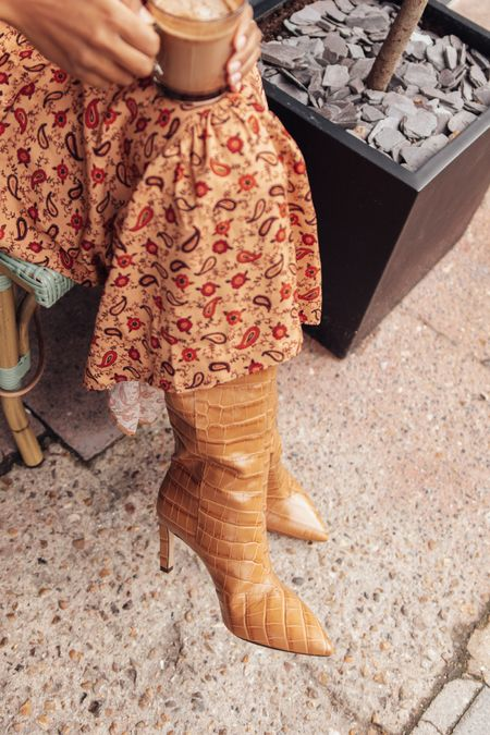 Petite floral cut out back midi-dress and pointed camel mock-crock knee high boots   #LTKshoecrush #LTKstyletip #LTKeurope