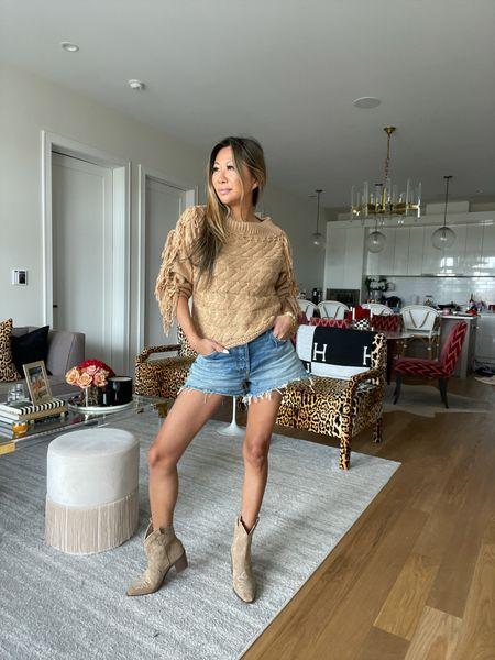 Fall affordable outfits, camel fringe sweater, bootie, cowboy booties   #LTKstyletip #LTKSeasonal #LTKunder100
