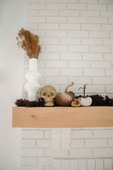 Halloween decorations velvet pumpkins skull  mantle   Fall decor   #LTKSeasonal #LTKhome #LTKunder50