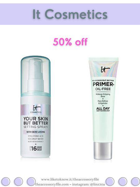 It Cosmetics 50% off Your Skin But Better Oil Free Makeup Primer & Your Skin But Better Setting Spray    http://liketk.it/3i4Xs #liketkit @liketoknow.it #LTKbeauty #LTKsalealert #LTKunder50