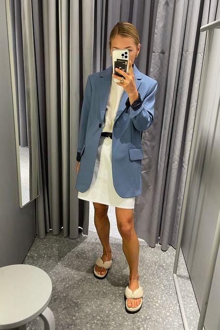 The blue blazer #arket #arketnewcollection #whiteskirt #denimskirt #newoutfit #newinarket #denimlook #outfitoftheday #skirt #miniskirt #bluejacket  #LTKunder50 #LTKunder100 #LTKeurope