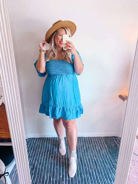 Perfect dress for anything from a picnic to a Fall date night! Wearing a large. Dress and booties run TTS.     #LTKstyletip #LTKbump #LTKcurves