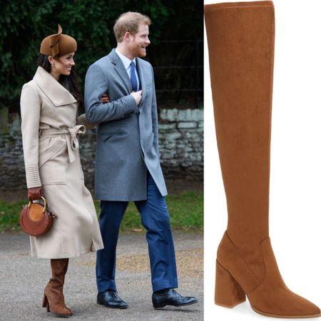 Meghan inspired boots #highboots #stevemadden #marcfisher #suede #camel #tan #brown #blockheel    #LTKsalealert