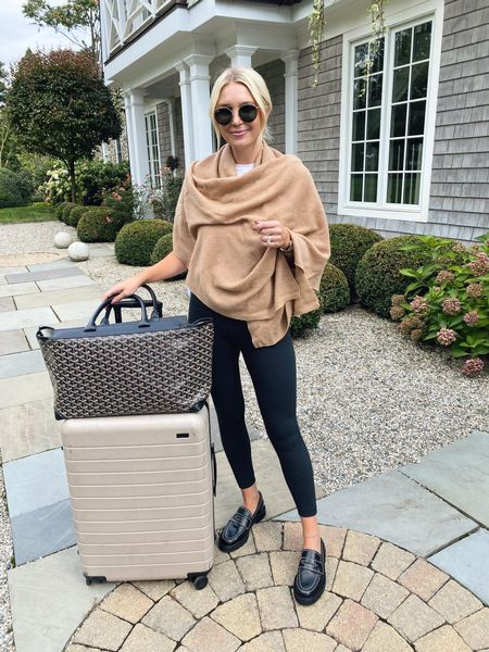 My travel outfit! Love this cashmere wrap from Bloomingdales!   #LTKunder100 #LTKshoecrush #LTKtravel