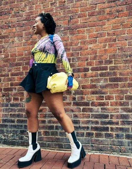 Boots  Amazon Clutch bag  tie dye tops  shorts  fitted tops  long sleeve tops  booties 