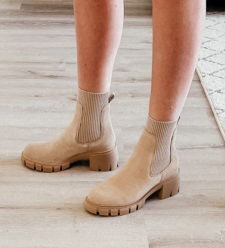 Nordstrom anniversary sale boots  - Steve Madden boots Fall must have shoe  Love the tan for the perfect neutral, also come in black and ivory Platform makes them very comfy and the sock part elongates the leg!  Wearing size 7   #LTKshoecrush #LTKsalealert #LTKunder100
