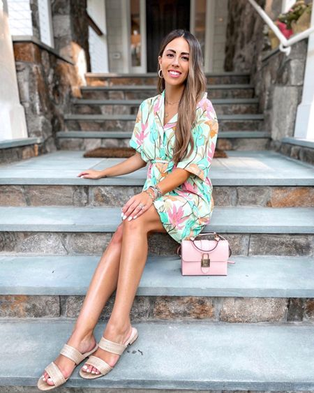 Tropical Floral Shirt Dress and wicker sandals.. summer vacation outfit    http://liketk.it/3iS9N #liketkit @liketoknow.it @liketoknow.it.brasil @liketoknow.it.europe @liketoknow.it.family @liketoknow.it.home #LTKtravel #LTKunder50 #LTKshoecrush