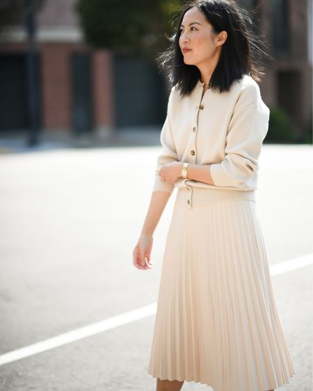 A cozy cardigan and pleated skirt: as classic as it gets!   #LTKunder100 #LTKstyletip #LTKworkwear