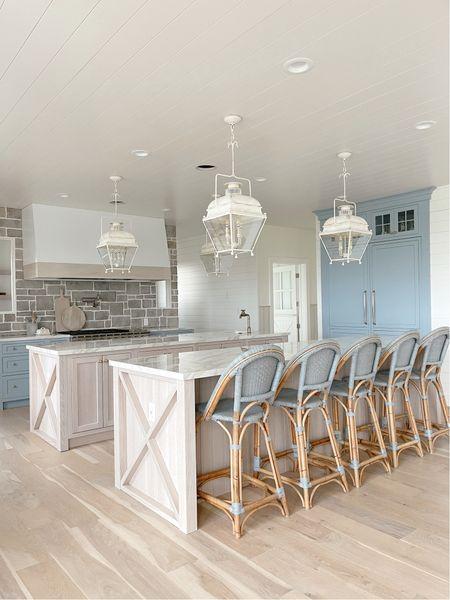 Kitchen inspo and design - kitchen pendants, Serena & lily stools  #LTKhome