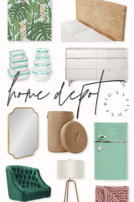 It's been a minute since I've done a Friday Finds, but I got the Home Depot catalog in the mail + there were sooo many cute thangs! I went for a tropical dorm vibe but I love so many of these pieces on their own 🌿  Shop my daily looks by following me on LIKEtoKNOW.it 🛒 http://liketk.it/3ihXf #liketkit @liketoknow.it @liketoknow.it.home #LTKhome   inexpensive dorm, cheap dorm decor, inexpensive dorm decor, dorm inspiration, dorm inspo, palm dorm, tropical dorm, beachy dorm, preppy dorm, colorful dorm, happy dorm room, California dorm, California dorm room, Florida dorm, Florida dorm room, Home Depot dorm, sea grass headboard, seagrass headboard, twin headboard dorm, headboard dorm, woven headboard, woven headboard twin, boho headboard twin, boho headboard dorm, removable wallpaper dorm, palm wallpaper, palm removable wallpaper, palm wallpaper dorm, inexpensive white dresser, white dresser under 250, white dresser under 300, cheap white dresser, white dresser college, white dresser apartment, affordable dorm, affordable dorm room, mint mini fridge, mint retro mini fridge, blue mini fridge, retro mini fridge, green mini fridge, green gold desk chair, green brass desk chair, green gold office chair, green brass office chair, mint dorm, mint dorm decor, mint Tupperware, mint glass Tupperware, woven laundry basket, woven hamper, hamper dorm, scalloped mirror, scalloped gold mirror, scalloped brass mirror, preppy mirror, gold mirror dorm, brass mirror dorm, white gold modern table lamp, white brass table lamp, inexpensive gold table lamp, affordable gold table lamp, blush chunky knit throw, chunky woven throw blanket, pink woven blanket, pink chunky knit blanket, tufted green chair, tufted green gold chair, modern white dresser, green pink wallpaper, green blue wallpaper, green pink dorm, Lilly Pulitzer dorm, southern dorm room, prep dorm room, green pink dorm, mint pink dorm, mint blush dorm, mint blush decor, mint pink decor, green pink decor, green blush decor