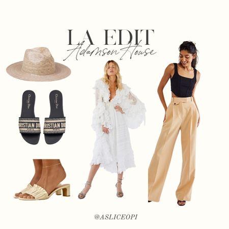 📷 LA EDIT- Lack of Color hat, Reformation heels, Dior heels, Free People white maxi dress, Butter Trousers, black corset tank top ! http://liketk.it/3mwMt #liketkit @liketoknow.it