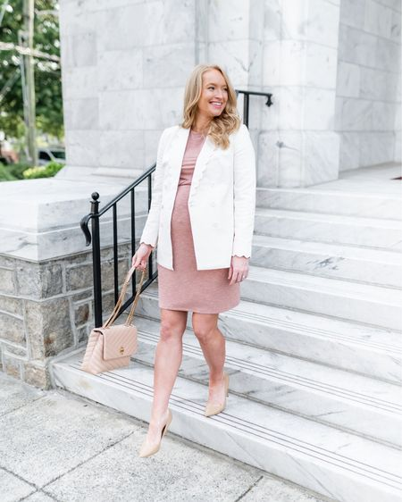 This work outfit is on sale for #LTKDay  and I can't recommend this scalloped blazer and bump friendly dress enough! Wearing a small in the blazer and I sized up to a medium in the dress for the bump. It's non maternity, but very flattering and comfortable! It's sleeveless so it's great to layer with for work with cardigans or a blazer http://liketk.it/3hiVX #liketkit @liketoknow.it #LTKworkwear #LTKbump  express sale