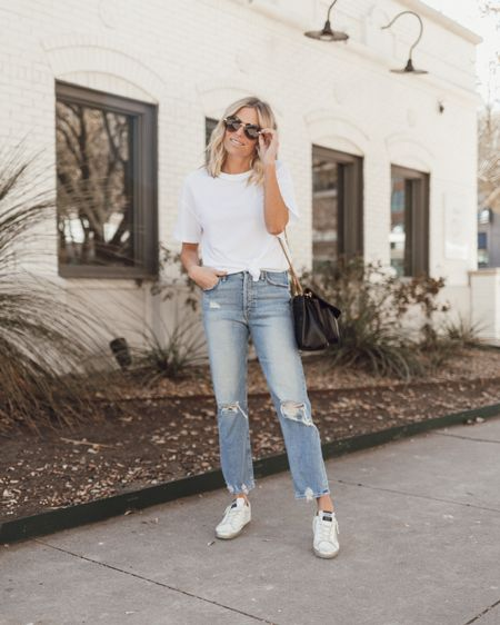 Basic white t-shirt with denim and sneakers. Fit is oversized, I'm wearing a small! @liketoknow.it http://liketk.it/39sQz #liketkit #LTKunder50 #LTKstyletip #LTKunder100 #onesmallblonde