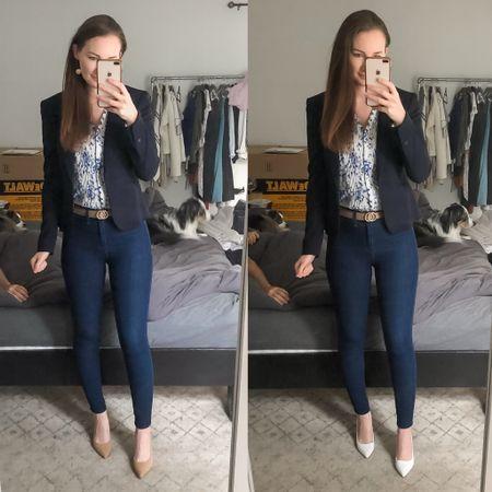 http://liketk.it/3jNZG #liketkit @liketoknow.it business casual, navy blue blazer outfit, white heels, tan suede heels, real estate outfit, realtor outfit