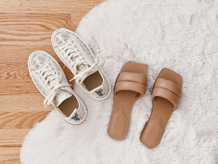 Stepping into summer with a twist on classic white sneakers with lace and neutral puffy sandals.  Left: Chloe Lace Lauren Sneakers Right: Marc Fisher Sandals  #LTKunder100 #LTKSeasonal #LTKshoecrush