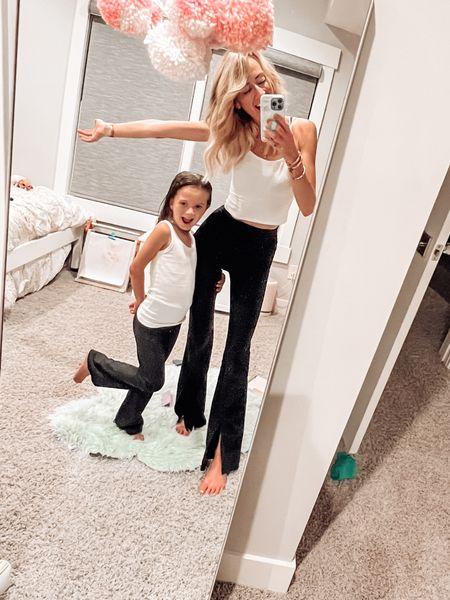 Twinning is winning! Pajamas  Flare leggings Split front leggings Abercrombie kids   #LTKkids #LTKfamily